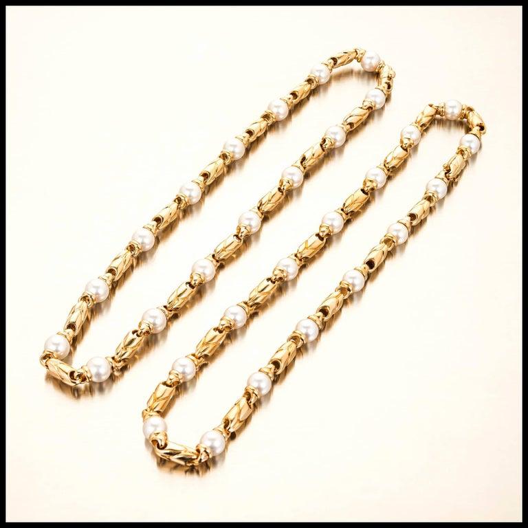 Bulgari Passo Doppio Pearl Gold 2 Necklace Set In Good Condition For Sale In Stamford, CT