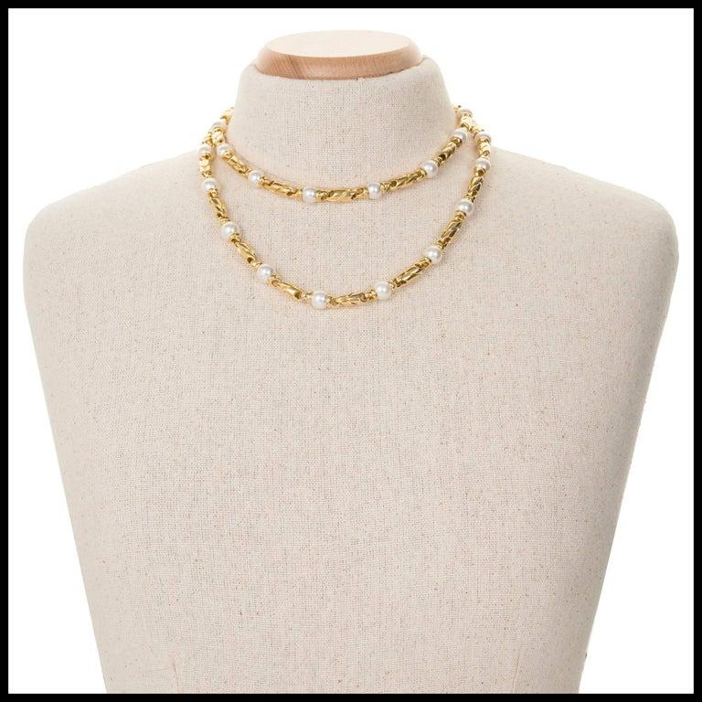 Bulgari Passo Doppio Pearl Gold 2 Necklace Set For Sale 1