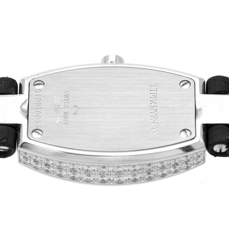 Round Cut Tiffany & Co. Ladies Gold Diamond Pave Tonneau Quartz Wristwatch For Sale