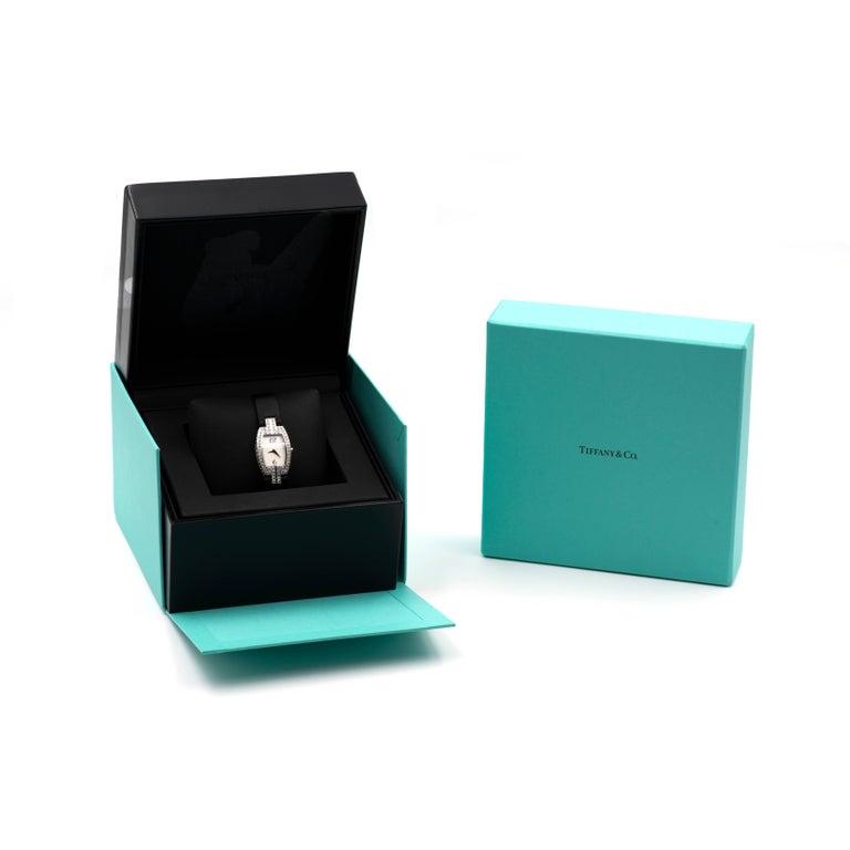 Tiffany & Co. Ladies Gold Diamond Pave Tonneau Quartz Wristwatch For Sale 1