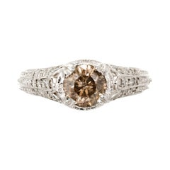 GIA Certified .92 Carat Natural Fancy Brown Diamond Platinum Engagement Ring