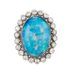 9.41 Carat Oval Blue Opal Diamond Halo Platinum Cocktail Ring