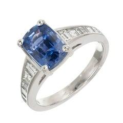 3.03 Carat Violet Blue Natural Sapphire Sasha Primak Engagement Ring