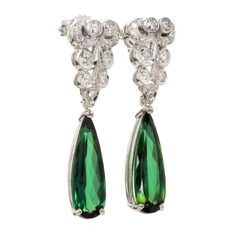 Peter Suchy 6.37 Carat Pear Tourmaline Diamond Platinum Dangle Earrings