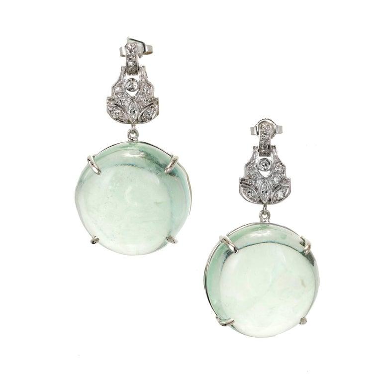 Peter Suchy 74.23 Carat Aqua Diamond Platinum Dangle Earrings