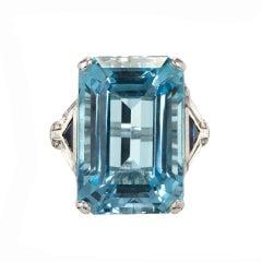 18.87 Carat Natural Aqua Sapphire Diamond Platinum Cocktail Ring