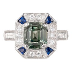 Peter Suchy 3.39 Carat Green Sapphire Diamond Platinum Engagement Ring