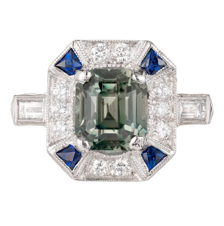 Peter Suchy 3.39 Carat Green Sapphire Diamond Platinum Engagement Ring