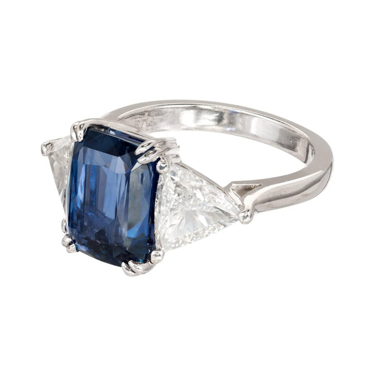 Peter Suchy 4.61 Carat Sapphire Diamond Platinum Three-Stone Engagement Ring For Sale 1