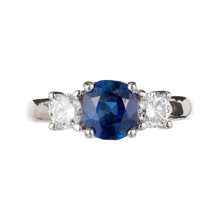 Peter Suchy 1.93 Carat Sapphire Diamond Three-Stone Gold Engagement Ring 2
