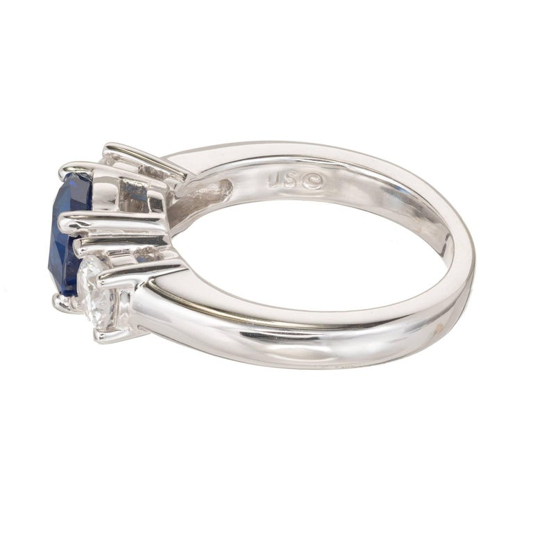 Peter Suchy 1.93 Carat Sapphire Diamond Three-Stone Gold Engagement Ring 5