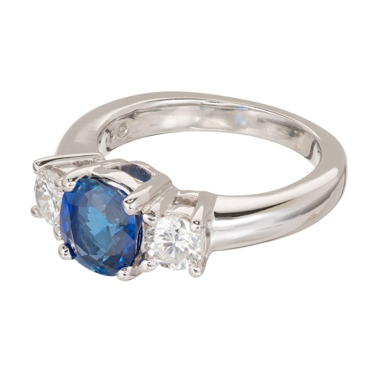 Peter Suchy 1.93 Carat Sapphire Diamond Three-Stone Gold Engagement Ring 3