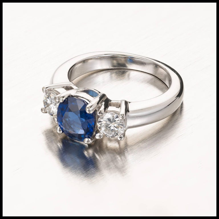 Peter Suchy 1.93 Carat Sapphire Diamond Three-Stone Gold Engagement Ring 9