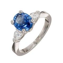 Peter Suchy GIA Certified 2.02 Carat Sapphire Diamond Platinum Engagement Ring