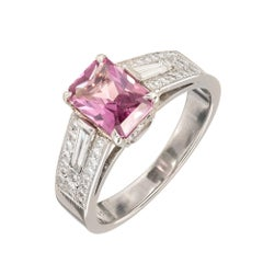 Peter Suchy 2.06 Carat Pink Sapphire Diamond Platinum Engagement Ring