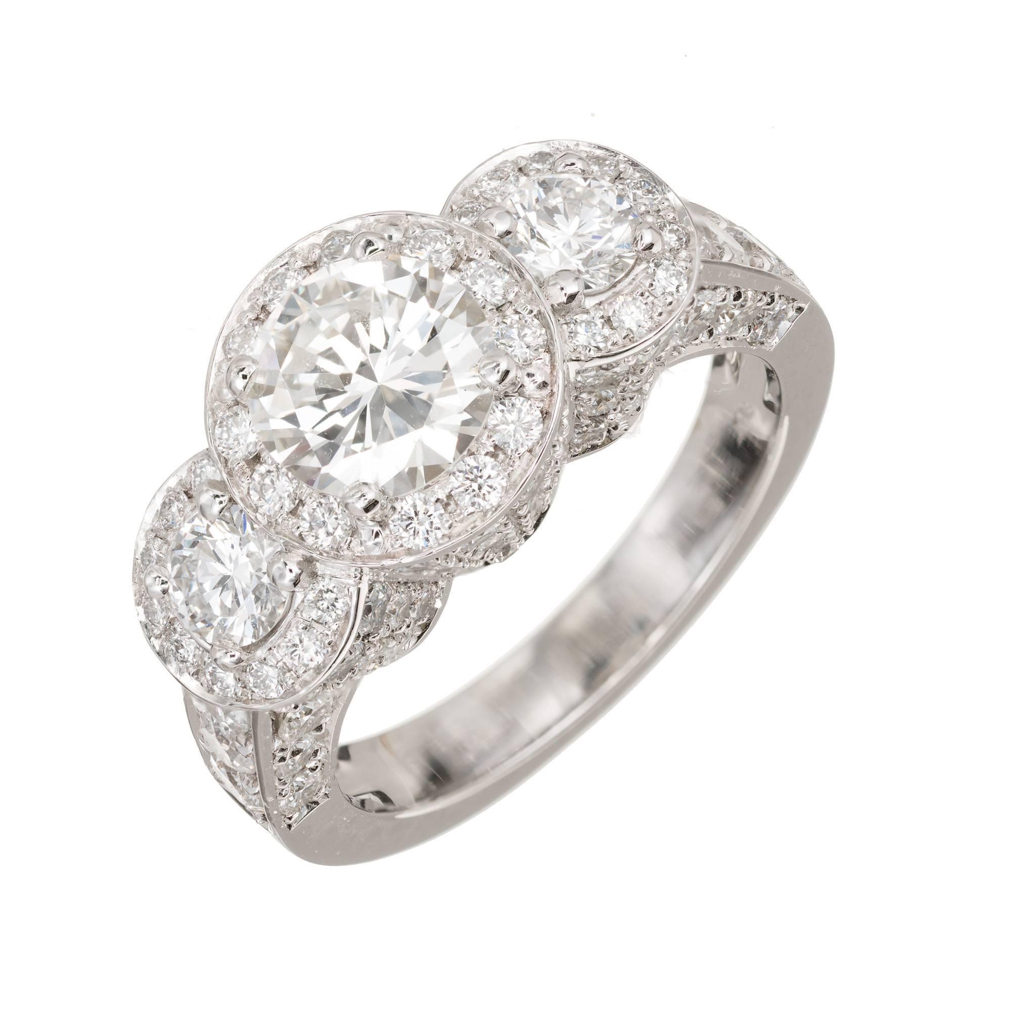 Peter Suchy 1.96 Carat Diamond Halo Three-Stone Platinum Engagement Ring