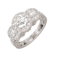 Peter Suchy 1.96 Carat Diamond Halo Three-Stone Platinum Engagement Ring