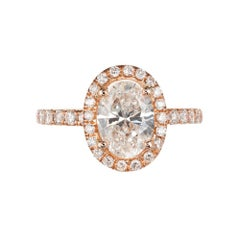 GIA Certified Peter Suchy 1.23 Carat Oval Diamond Halo Rose Gold Engagement Ring