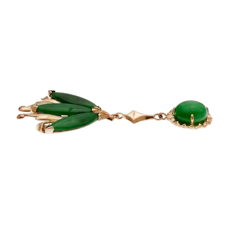 Green natural untreated Omphacite Jadeite Jade GIA certified natural untreated handmade 22k yellow gold dangle earrings. 18k earring backs.  22k & 18k yellow gold 6 Marquise cabochon bright green translucent Jadeite Jade, 12.44 x 4.44 x 1.79mm, GIA