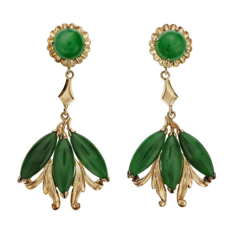 GIA Certified Natural Omphacite Jadeite Jade Gold Dangle Earrings For Sale