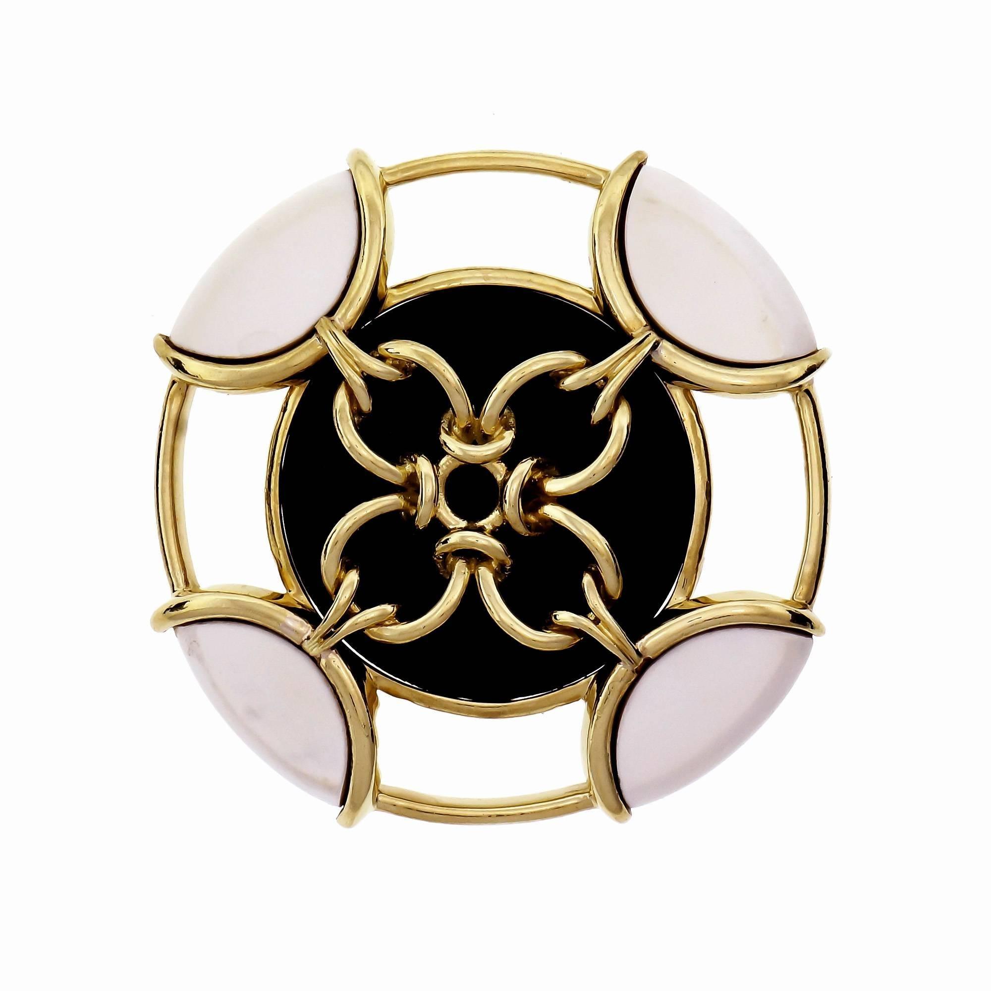 Tiffany & Co. Onyx Pristine Gold Brooch Pendant