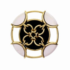 Tiffany & Co. Onyx Pristine Gold Brooch Pendant