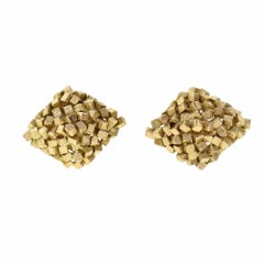 Modernist 1950s Textured Stacked Cube Gold Cufflinks
