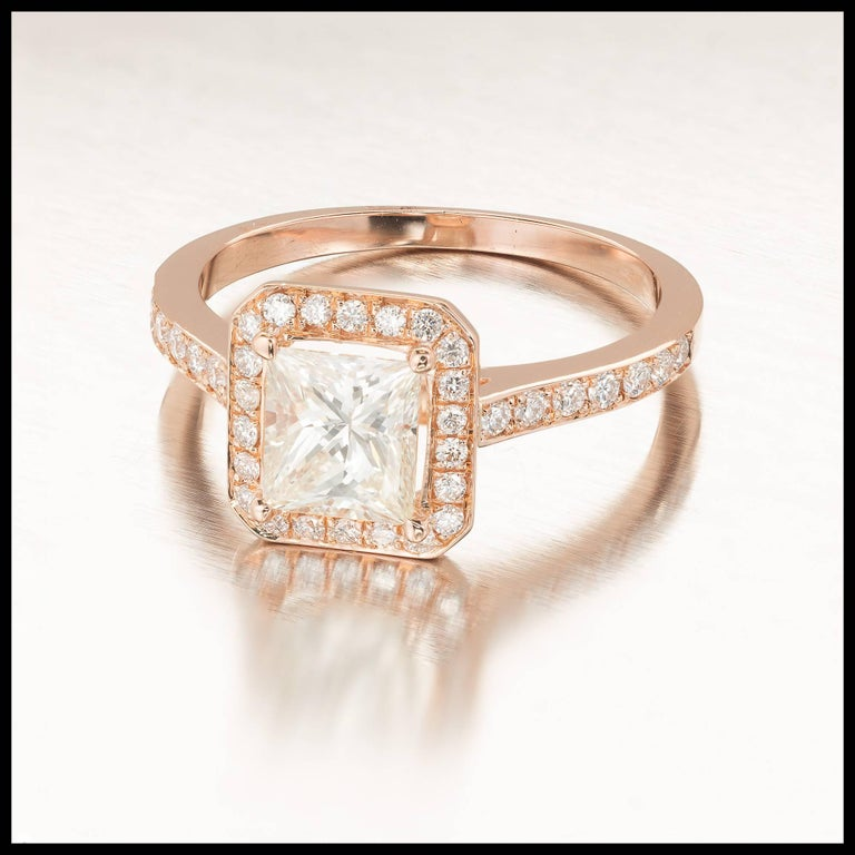 Princess Cut GIA Certified Peter Suchy 1.00 Carat Diamond Halo Rose Gold Engagement Ring For Sale