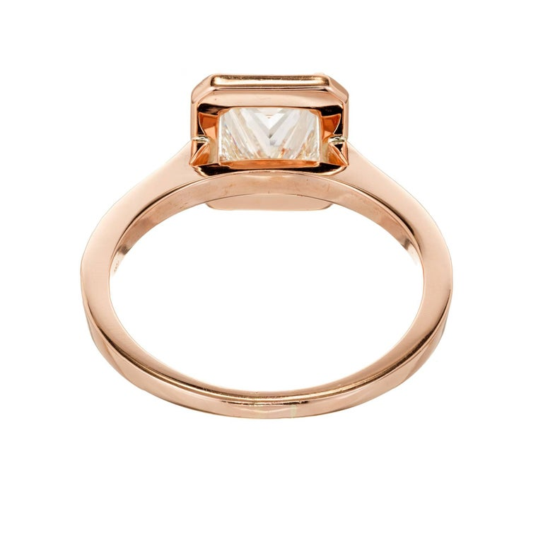 GIA Certified Peter Suchy 1.00 Carat Diamond Halo Rose Gold Engagement Ring For Sale 1