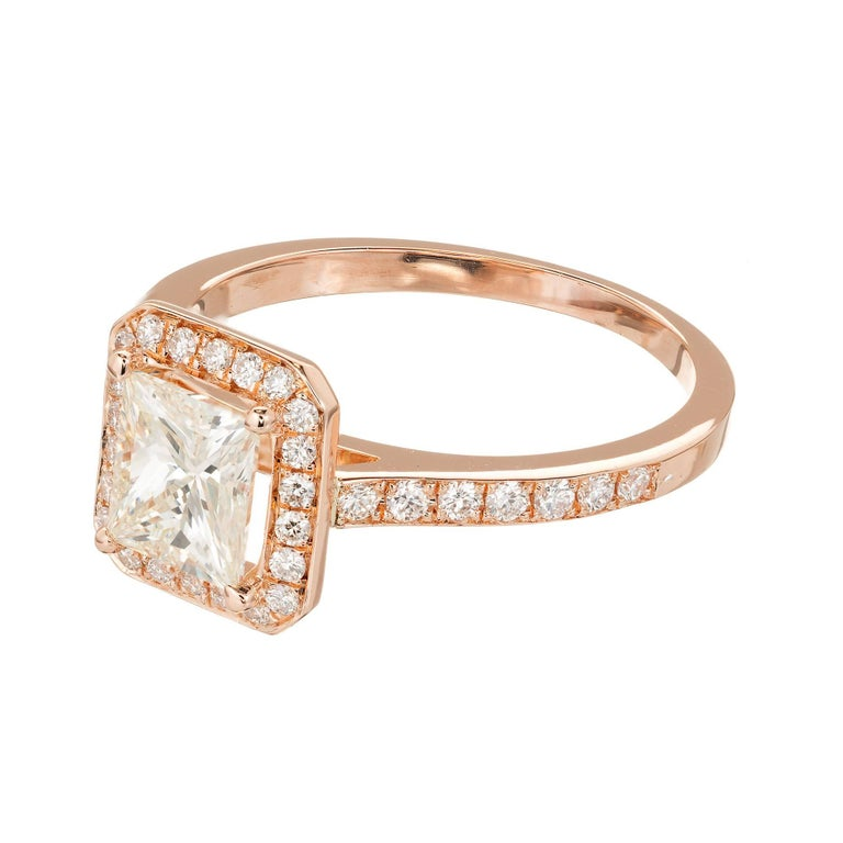 GIA Certified Peter Suchy 1.00 Carat Diamond Halo Rose Gold Engagement Ring In Good Condition For Sale In Stamford, CT