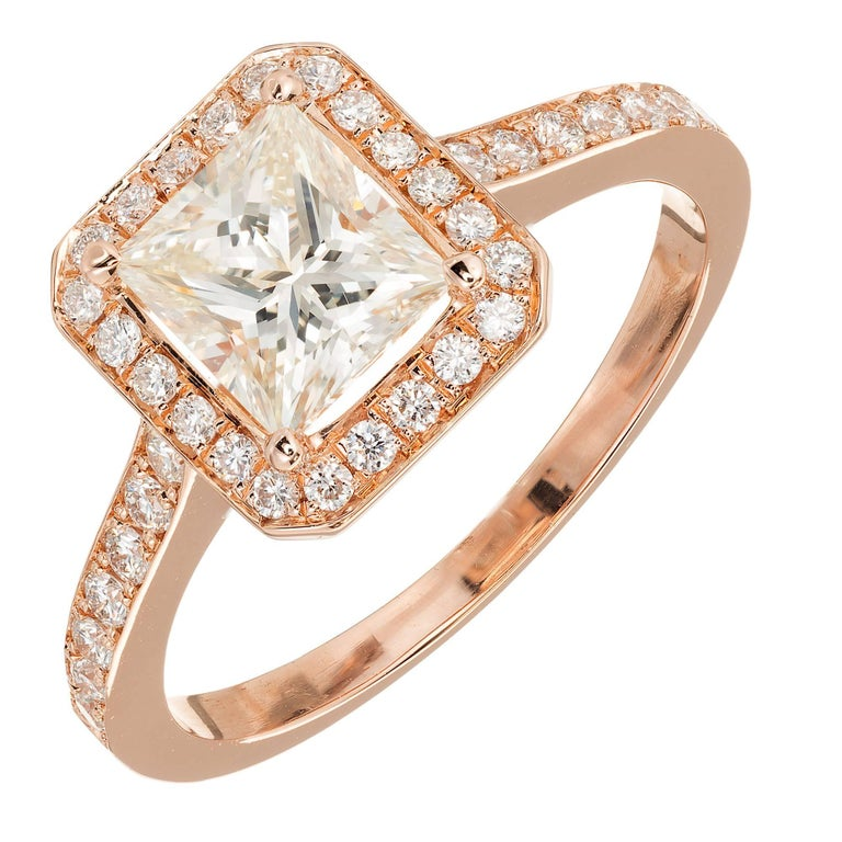 GIA Certified Peter Suchy 1.00 Carat Diamond Halo Rose Gold Engagement Ring For Sale