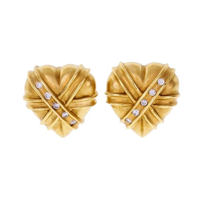 Domed Heart Diamond Gold Clip Post Earrings