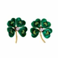 Four -Leaf Clover Diamond Green Enamel Earrings