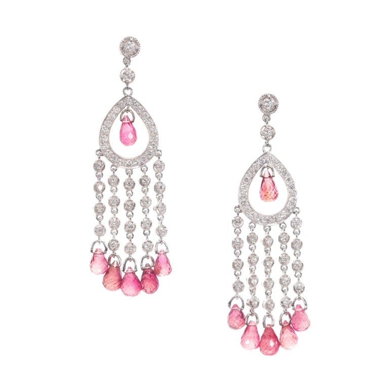 10.05 Carat Diamond Pink Tourmaline Briolette Chandelier Dangle Earrings