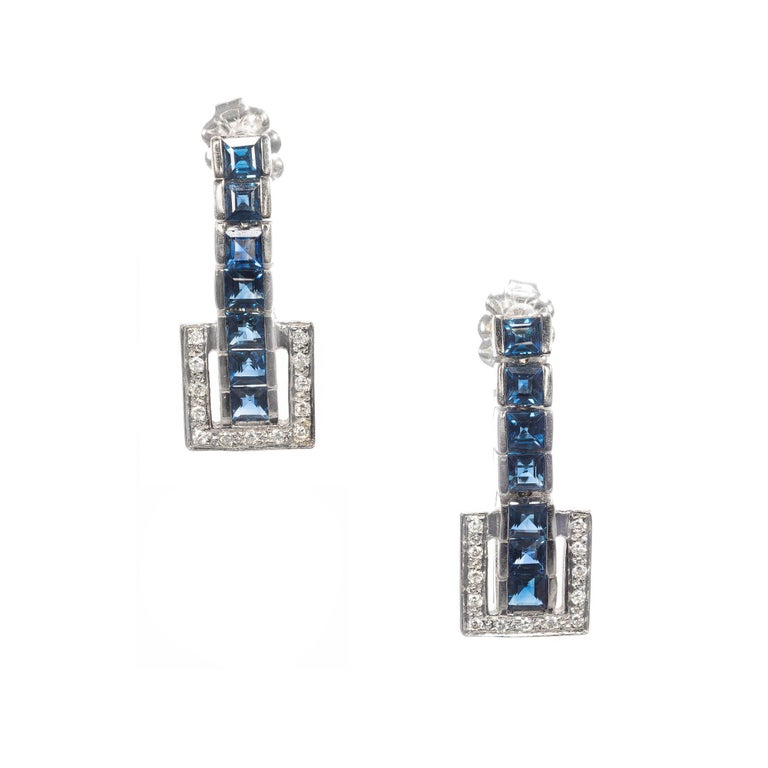 1.40 Carat Sapphire Diamond Gold Dangle Drop Earrings