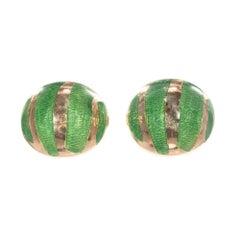 Green Enamel Yellow Gold Button Domed Cufflinks