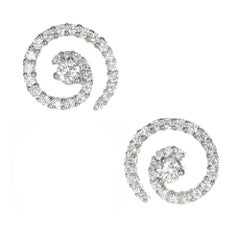.85 Carat Diamond Gold Swirl Earrings