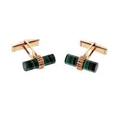 Larter & Sons GIA Certified Green Malachite Yellow Gold Cufflinks