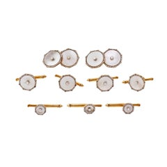 Larter & Sons Mother of Pearl Gold Platinum Men's Dress Set Cufflinks