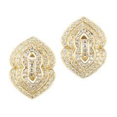 2.05 Carat Diamond 14 Karat Yellow Gold Earrings