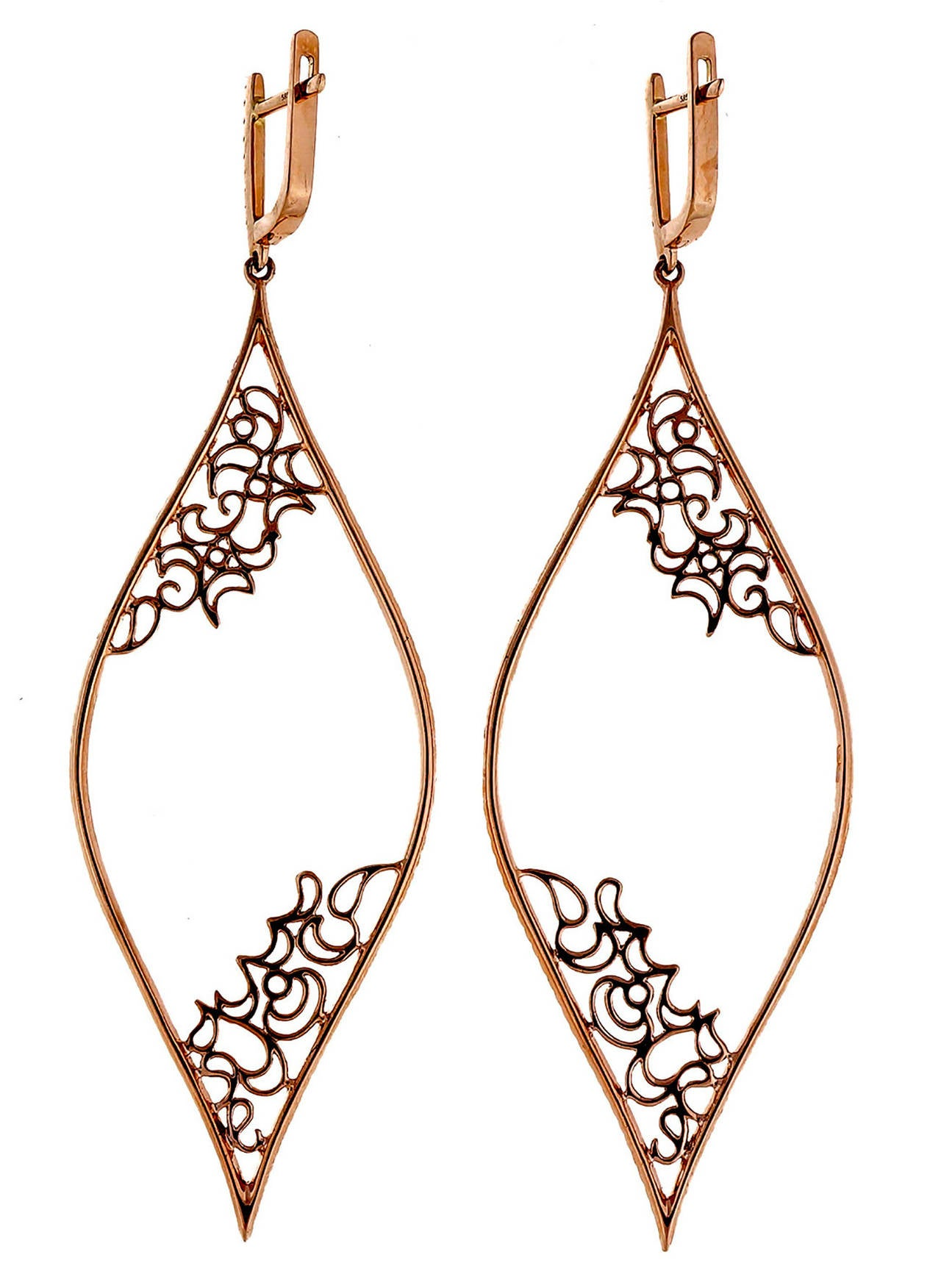 Limited edition Micro Pave set extra high grade designer diamond dangle earrings in 14k gold with bright white diamonds. Signed GB 14k 585. Safe post and hinge tops. Hinged construction. The finest of diamond and workmanship. On Peter's now famous