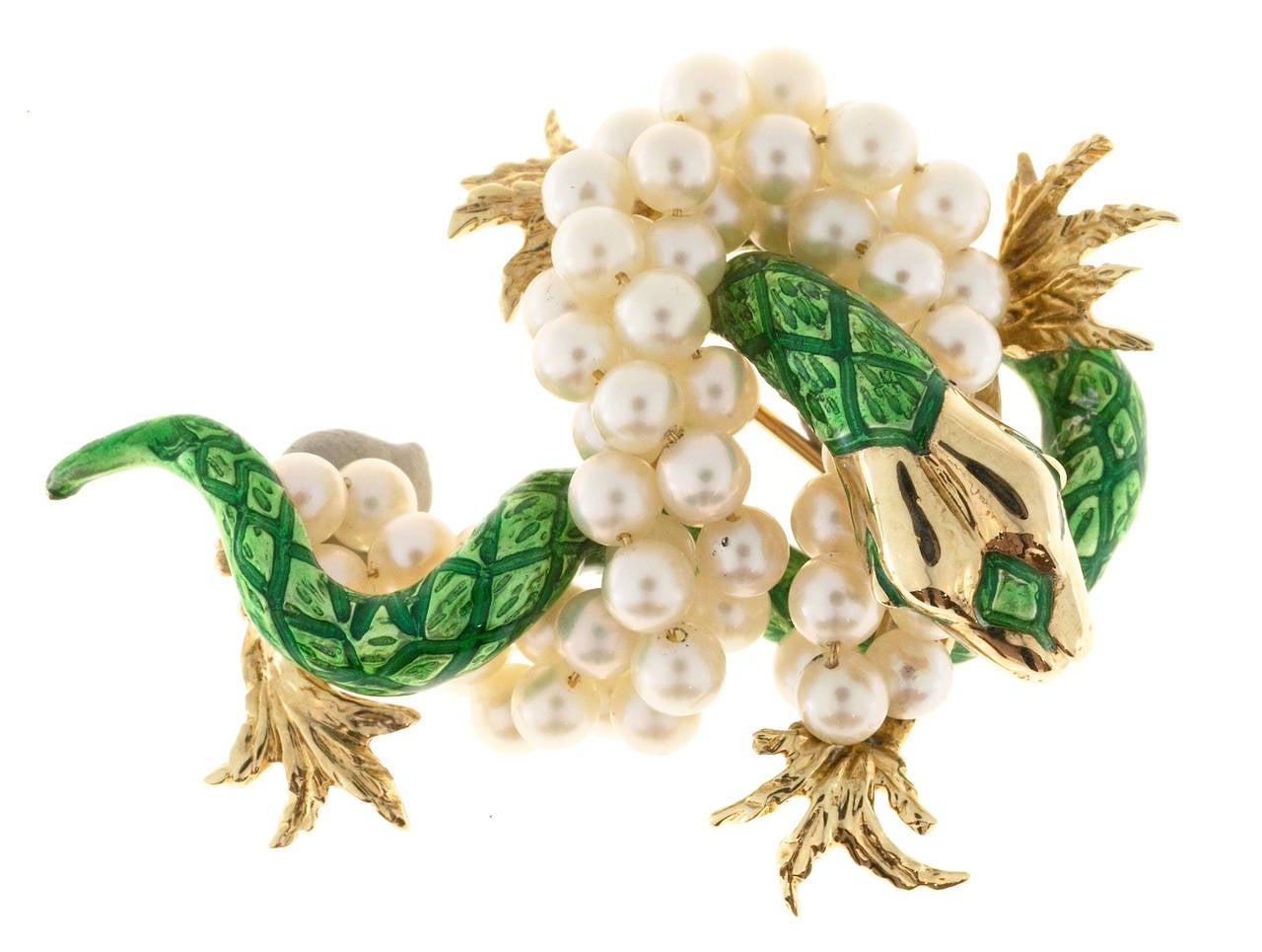 Green Enamel  Freshwater Pearl Gold Dragon Pin 2