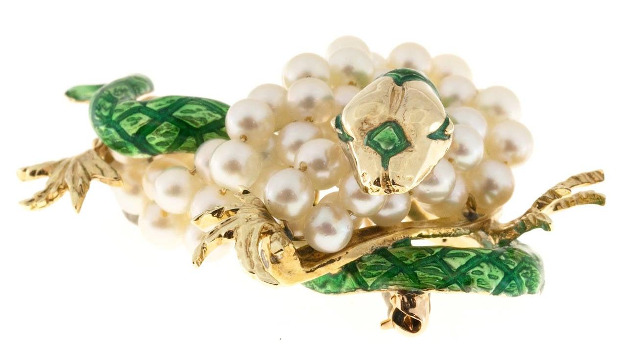 Green Enamel  Freshwater Pearl Gold Dragon Pin 4