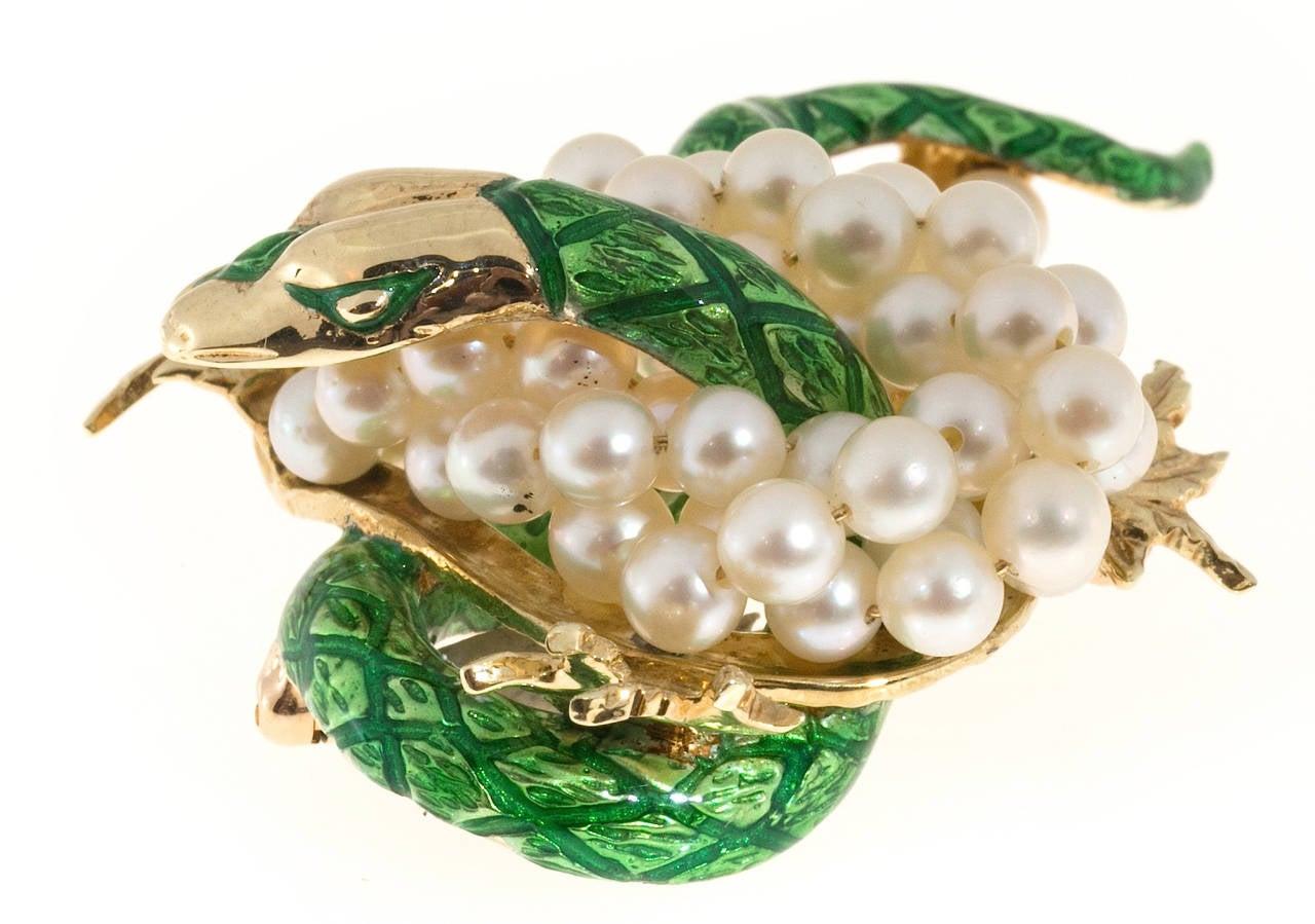 Green Enamel  Freshwater Pearl Gold Dragon Pin 6