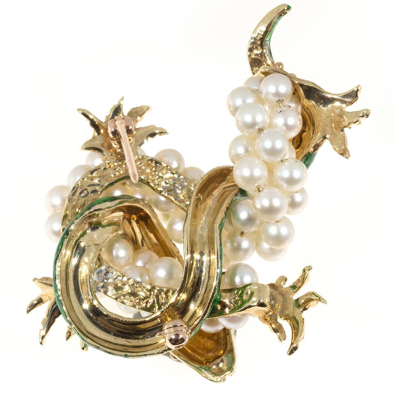 Green Enamel  Freshwater Pearl Gold Dragon Pin 7