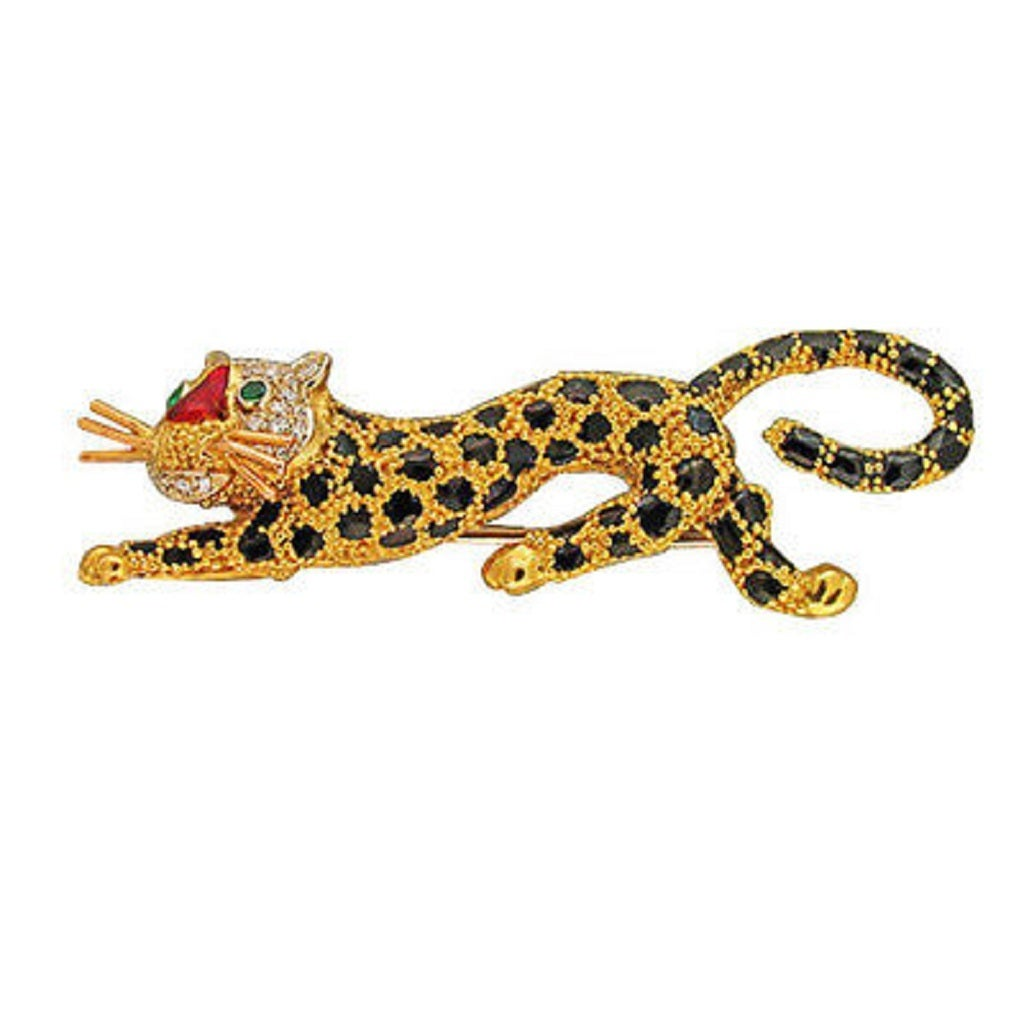 Solid 18k gold wonderful Tiger, Leopard pin. Finest Italian manufacturing. Black enamel spots, reddish brown nose, emerald eyes, diamond pave face and white gold whiskers. Double stem pin catch. Crisp jet black and red enamel. Black and orange
