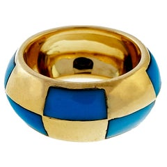 Mauboussin Paris Inlaid Natural Turquoise Wide Band Ring