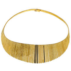 Italian Gold Cleopatra Style Graduated Necklace