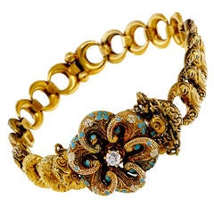 Krementz Victorian Blue Enamel Old European Diamond Gold Bracelet