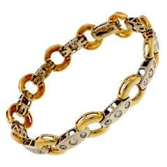 Diamond Two Color Gold Circle Bar Link Bracelet